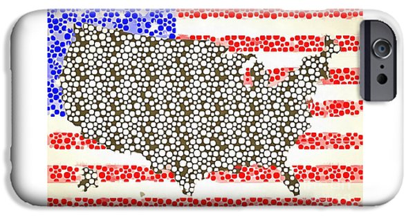 Map Of The United States Of America Pop Art IPhone Case by Edward Fielding