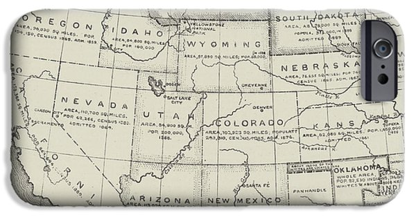 Map Of The Western States Of America IPhone Case by English School