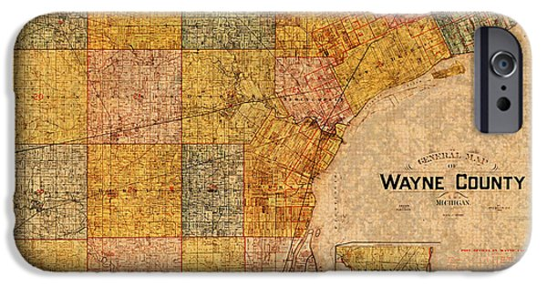 Map Of Wayne County Michigan Detroit Area Vintage Circa 1893 On Worn Distressed Canvas  IPhone Case by Design Turnpike
