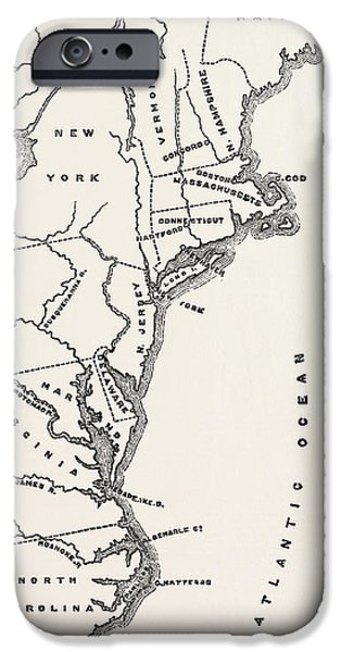 Map To Show Position Of The Early Settlements In North America IPhone Case by American School
