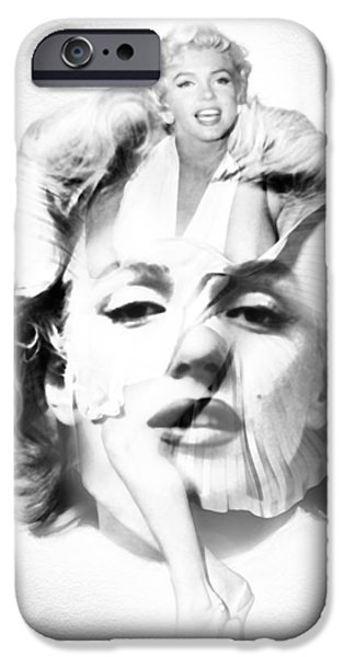 Marilyn Monroe Portrait In Black And White IPhone Case by Diana Van