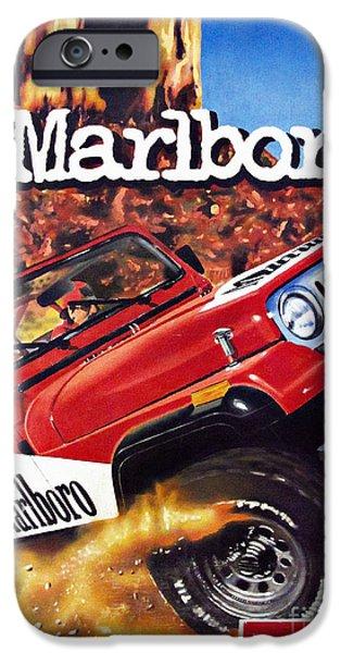 Marlboro Wrangler Vintage Painting IPhone Case by Daliana Pacuraru