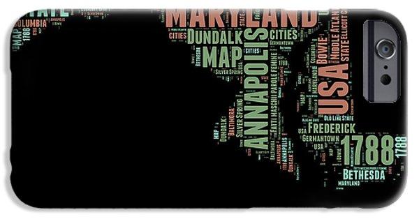 Maryland Word Cloud 1 IPhone Case by Naxart Studio