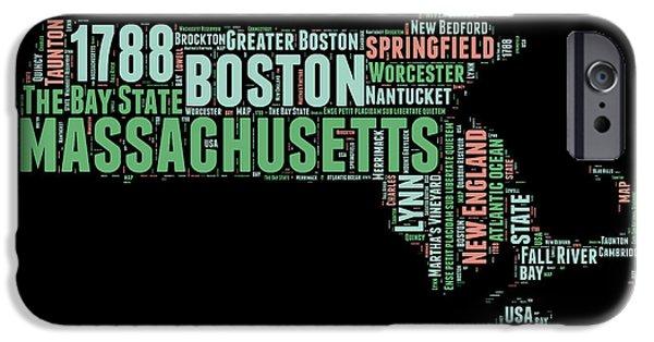 Massachusetts Word Cloud Map 1 IPhone Case by Naxart Studio