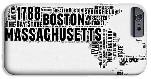 Massachusetts Word Cloud Map 2 IPhone Case by Naxart Studio