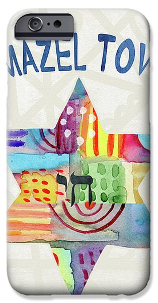 Mazel Tov Colorful Star- Art By Linda Woods IPhone Case by Linda Woods