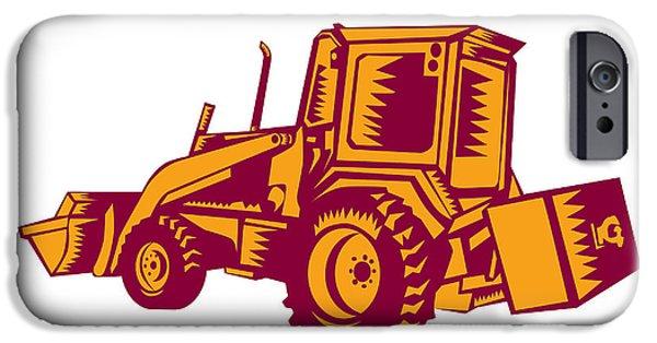 Mechanical Digger Excavator Woodcut IPhone Case by Aloysius Patrimonio