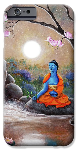 Medicine Buddha By A Waterfall IPhone Case by Laura Iverson