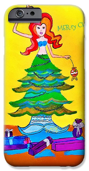 Mer-ry Christmas Mermaid   IPhone Case by ARTography by Pamela Smale Williams