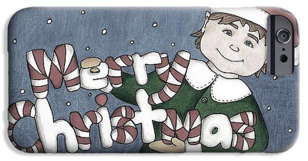 Merry Christmas Elf-monotoned IPhone Case by Sheelah Harris