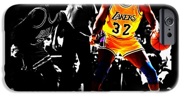 Michael Jordan And Magic Johnson IPhone Case by Brian Reaves