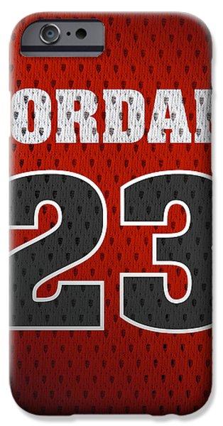 Michael Jordan Chicago Bulls Retro Vintage Jersey Closeup Graphic Design IPhone Case by Design Turnpike
