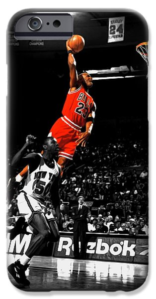 Michael Jordan Suspended In Air IPhone Case by Brian Reaves