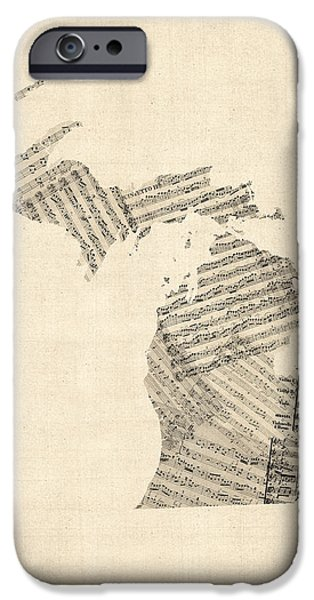 Michigan Map, Old Sheet Music Map IPhone Case by Michael Tompsett