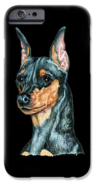 miniature Pinscher, Black and Tan IPhone Case by Kathleen Sepulveda