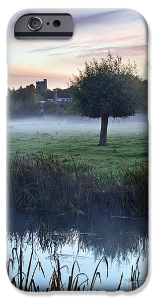 Misty Tree At Dawn Sudbury Water Meadows IPhone Case by Mark Sunderland