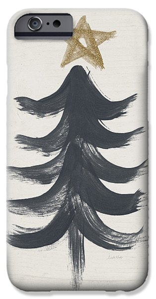 Modern Primitive Black And Gold Tree 1- Art By Linda Woods IPhone Case by Linda Woods