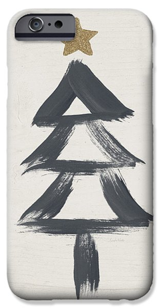 Modern Primitive Black And Gold Tree 2- Art By Linda Woods IPhone Case by Linda Woods