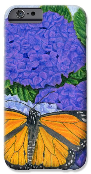 Monarch Butterflies And Hydrangeas IPhone Case by Sarah Batalka