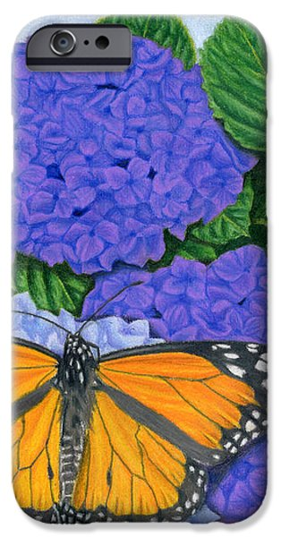 Monarch Butterflies And Hydrangeas IPhone Case by Sarah Batalka