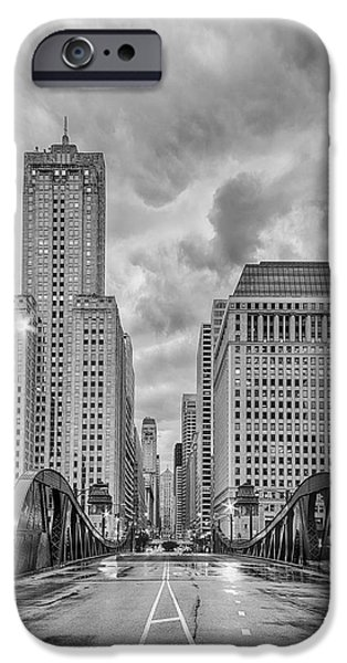 Monochrome Image Of The Marshall Suloway And Lasalle Street Canyon Over Chicago River - Illinois IPhone 6s Case by Silvio Ligutti