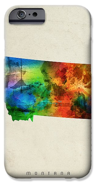 Montana State Map 03 IPhone Case by Aged Pixel