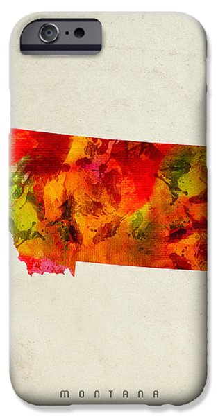 Montana State Map 04 IPhone Case by Aged Pixel