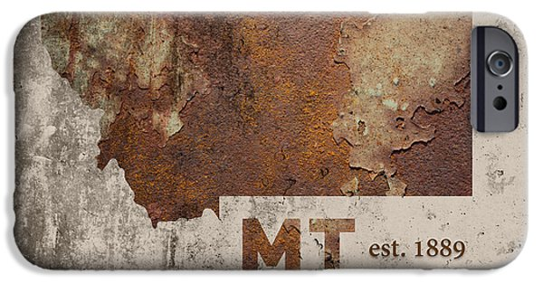 Montana State Map Industrial Rusted Metal On Cement Wall With Founding Date Series 041 IPhone Case by Design Turnpike