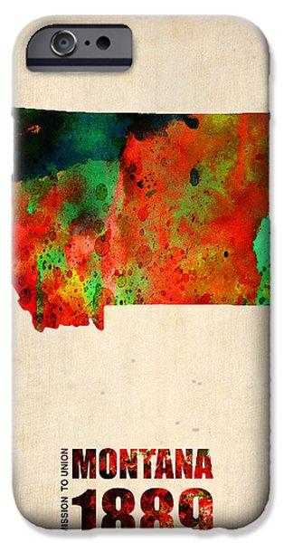 Montana Watercolor Map IPhone Case by Naxart Studio