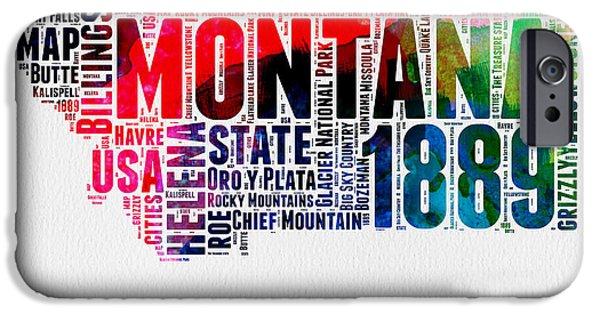 Montana Watercolor Word Cloud  IPhone Case by Naxart Studio