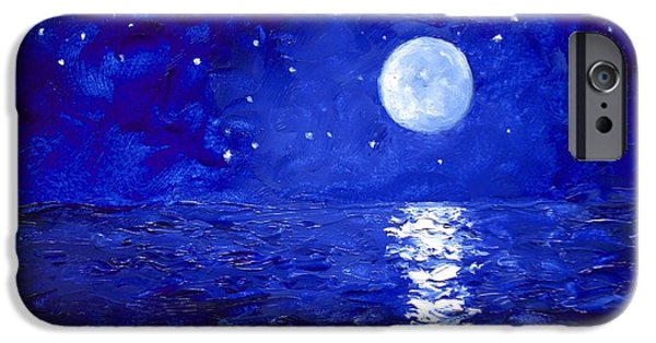 Moon And Stars Painting IPhone Case by Jan Matson