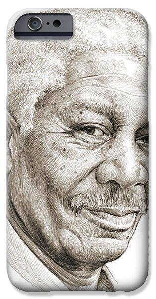 Morgan Freeman IPhone Case by Greg Joens