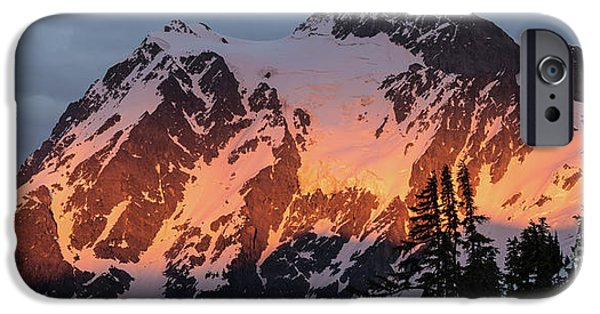 Mount Shuksan Brilliant Alpenglow IPhone Case by Mike Reid