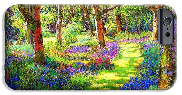 Music Of Light, Bluebell Woods IPhone Case by Jane Small