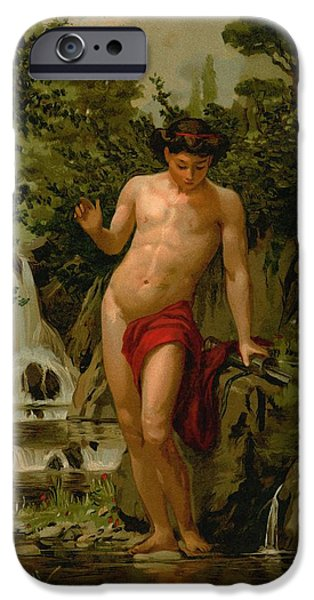 Narcissus In Love With His Own Reflection IPhone Case by Dionisio Baixeras-Verdaguer