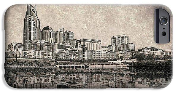 Nashville Skyline Mixed Media Painting  IPhone Case by Janet King