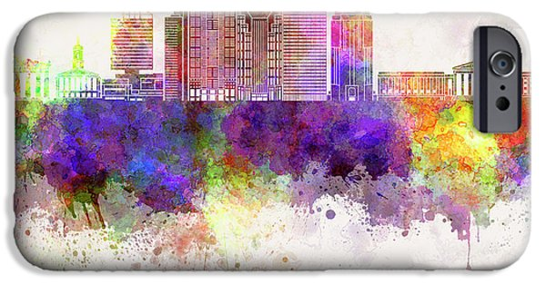 Nashville V2 Skyline In Watercolor Background IPhone Case by Pablo Romero