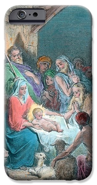 Nativity Scene IPhone Case by Gustave Dore