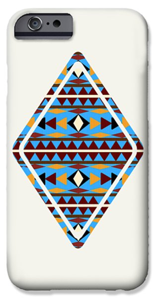 Navajo Blue Pattern Art IPhone Case by Christina Rollo