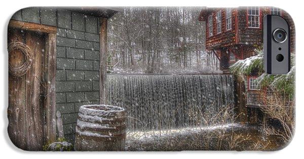 New England Snow Scenes - Frye's Measure Mill - Wilton, Nh IPhone Case by Joann Vitali