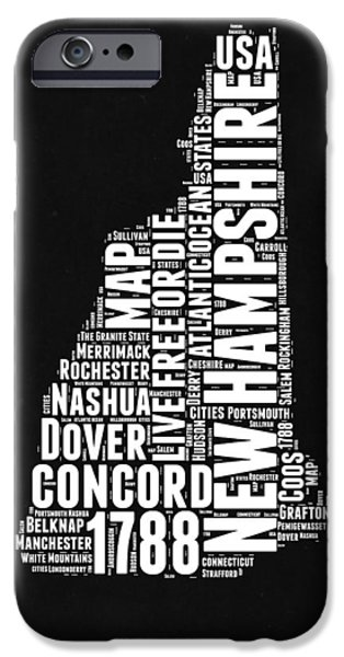 New Hampshire Word Cloud Black And White Map IPhone Case by Naxart Studio