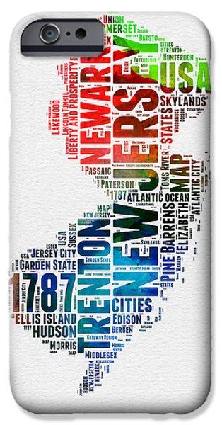 New Jersey Watercolor Word Cloud  IPhone Case by Naxart Studio