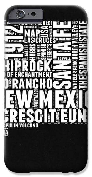 New Mexico Black And White Word Cloud Map IPhone Case by Naxart Studio