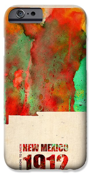 New Mexico Watercolor Map IPhone Case by Naxart Studio