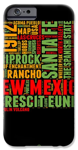 New Mexico Word Cloud Map 1 IPhone Case by Naxart Studio