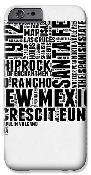 New Mexico Word Cloud Map 2 IPhone Case by Naxart Studio