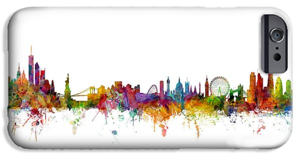 New York And London Skyline Mashup IPhone Case by Michael Tompsett
