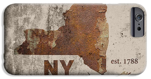 New York State Map Industrial Rusted Metal On Cement Wall With Founding Date Series 001 IPhone Case by Design Turnpike