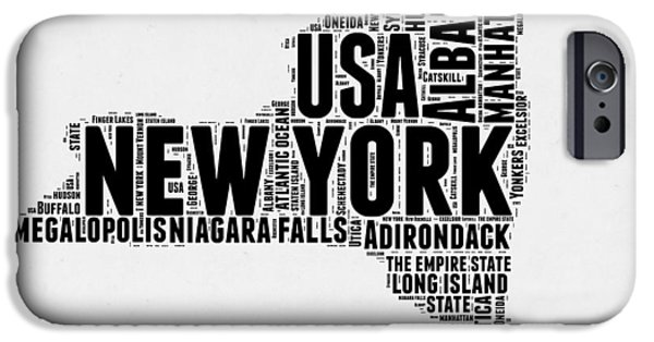 New York Word Cloud Map 2 IPhone Case by Naxart Studio