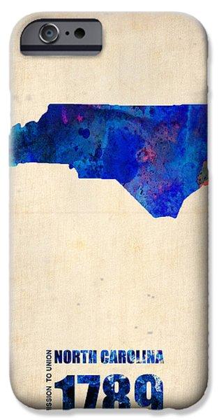 North Carolina Watercolor Map IPhone Case by Naxart Studio